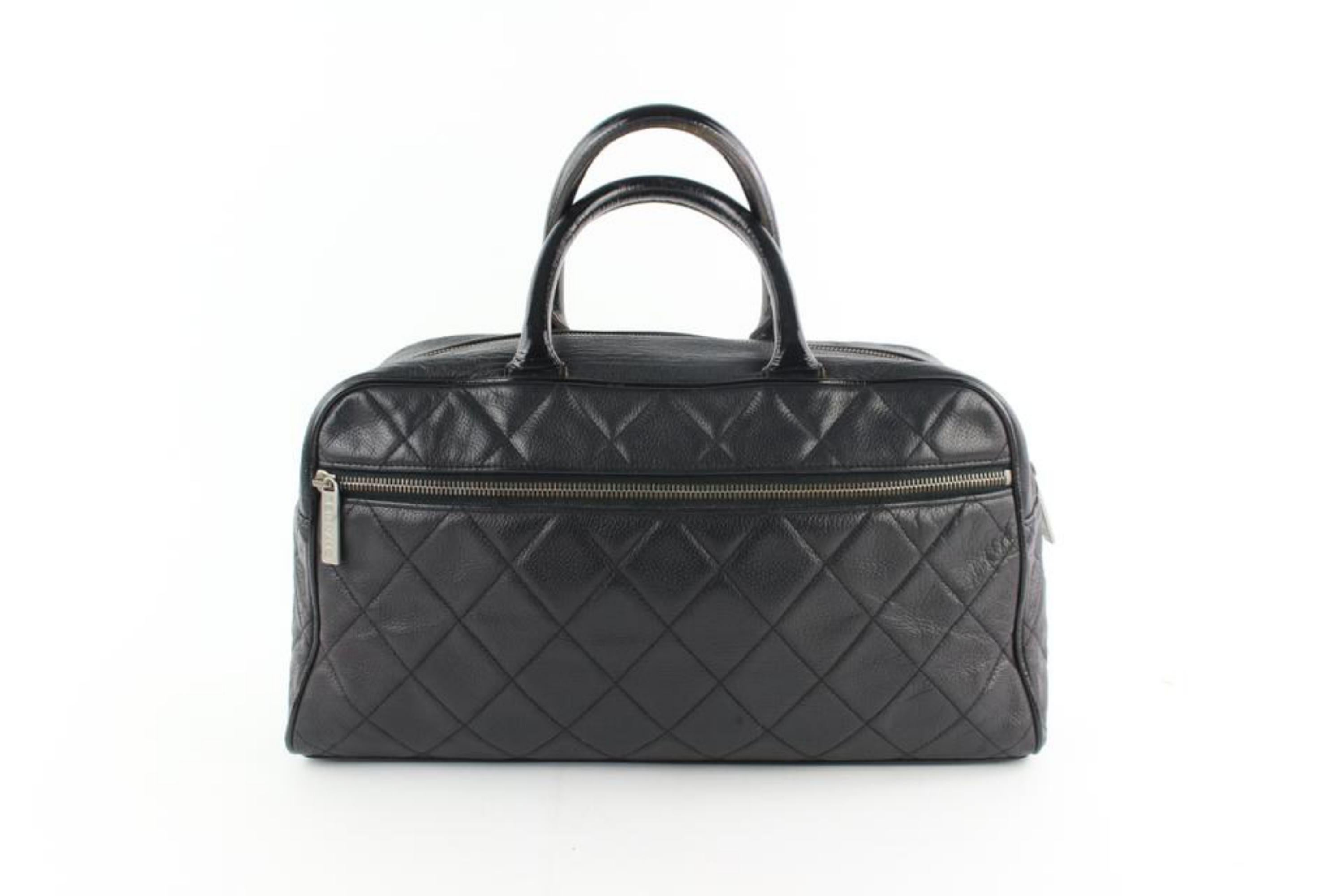 00fe724f92da Chanel Duffle Quilted Caviar Jumbo Boston 224146 Black Leather Weekend/ TravelBag For Sale at 1stdibs