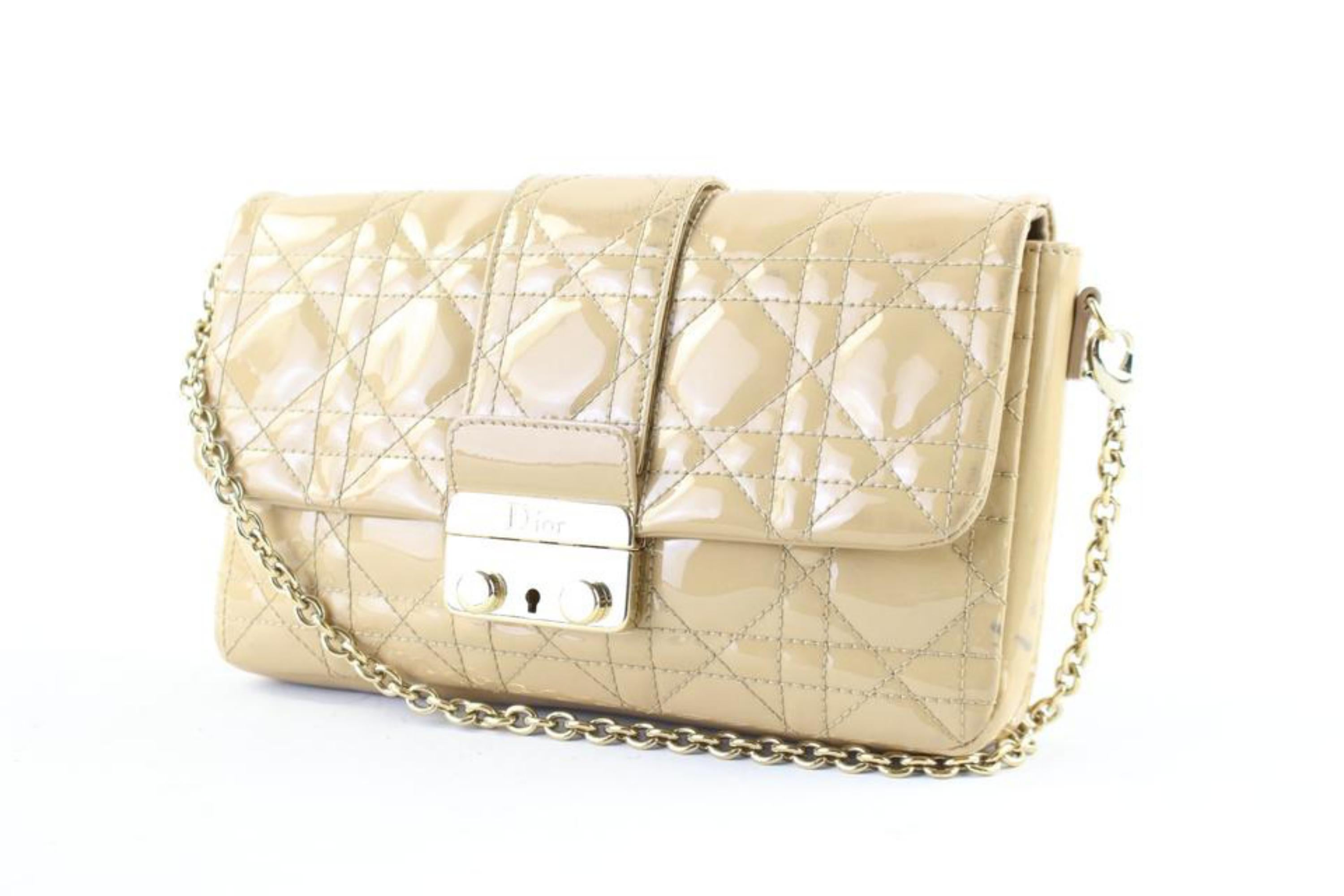 883dfb2dd11a Dior Cannage New Lock Pouch 23dr1127 Beige Patent Leather Cross Body Bag  For Sale at 1stdibs