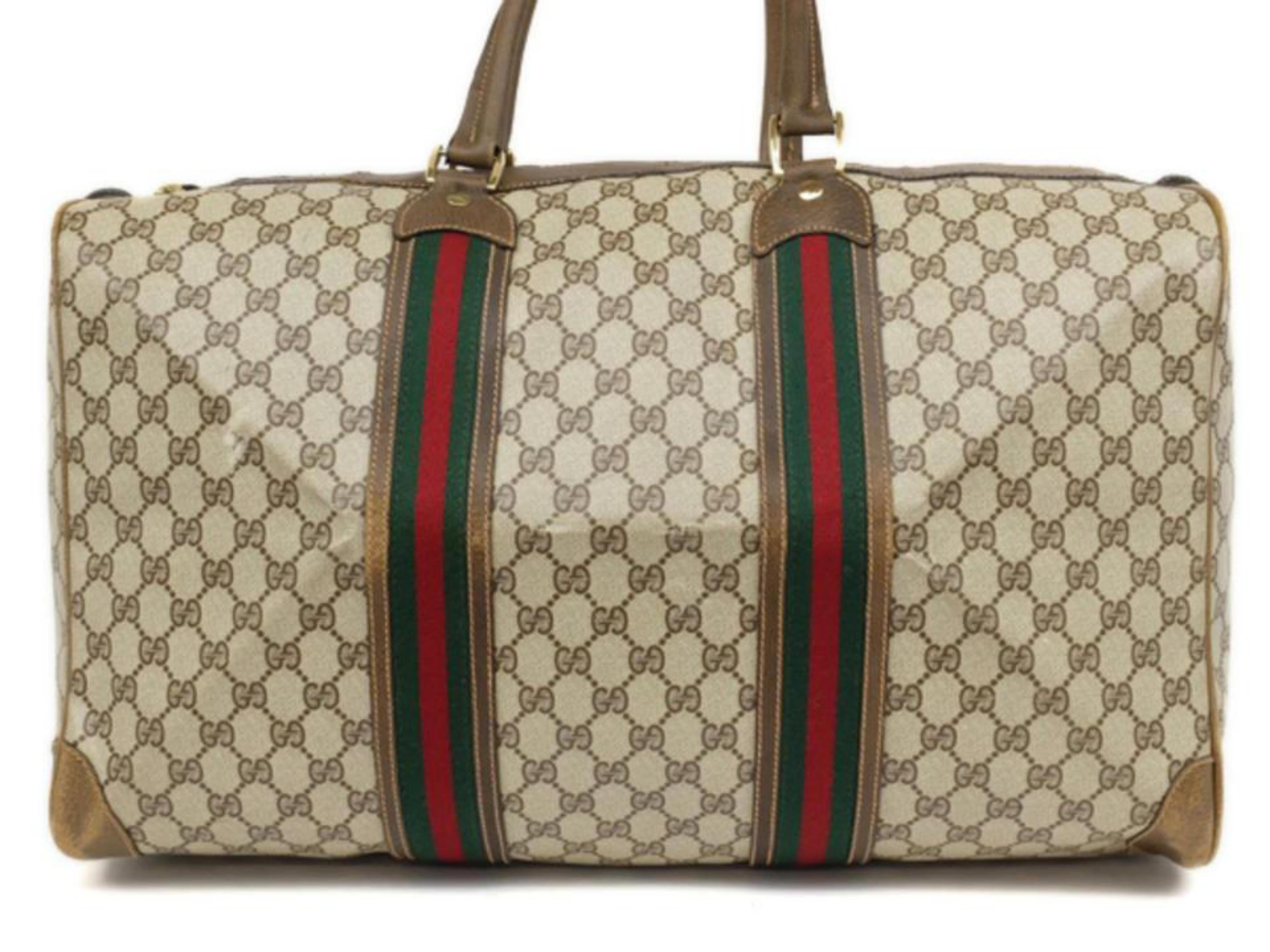 d3d6851a8e2 Gucci Boston Sherry Monogram Web Duffle 230431 Brown Weekend Travel Bag For  Sale at 1stdibs