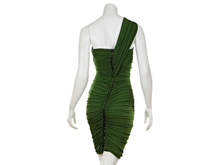 Black Green Lanvin Ruched Single-Shoulder Dress For Sale