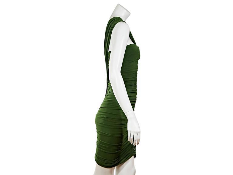 Green Lanvin Ruched Single-Shoulder Dress 2