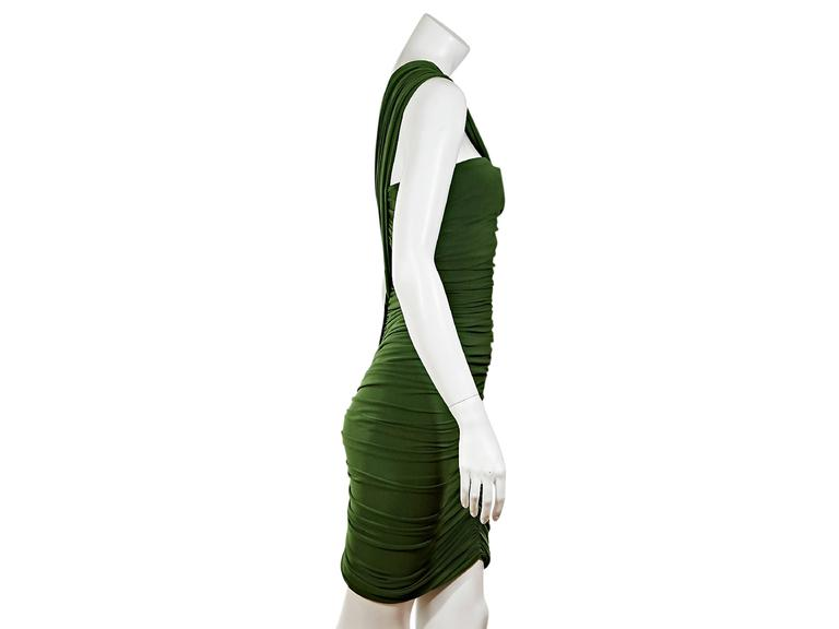 Green single-shoulder dress by Lanvin.  Ruching creates a figure-flattering silhouette. Back zip closure.