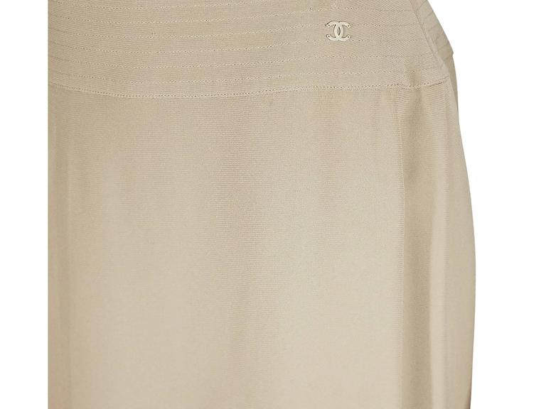 Tan Chanel Silk A-Line Skirt 2