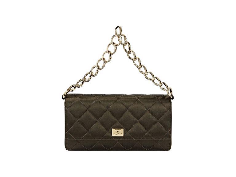 Brown Chanel Quilted Satin Shoulder Bag 2