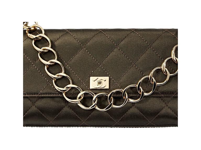 Brown Chanel Quilted Satin Shoulder Bag 6