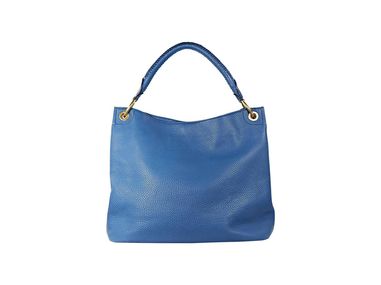 double zip around purse - Blue Prada Leather Vitello Daino Ring Hobo Bag at 1stdibs
