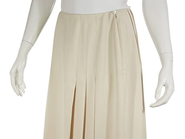 ivory chanel diagonal pleated skirt at 1stdibs