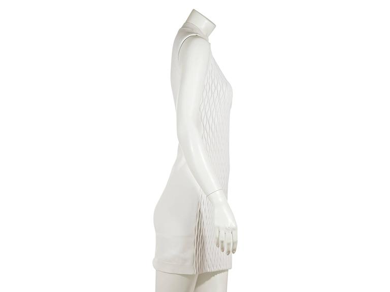 White textured-front dress by Balenciaga.  Mock neck.  Sleeveless.  Pullover style. Est. Retail $ 995.00