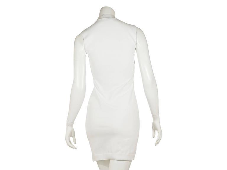 White Balenciaga Sleeveless Textured Dress 3