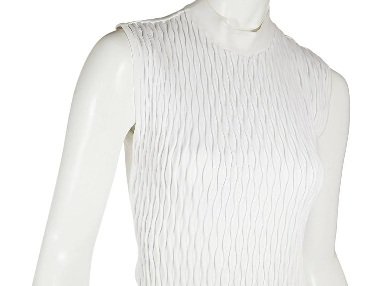 White Balenciaga Sleeveless Textured Dress In Excellent Condition For Sale In New York, NY