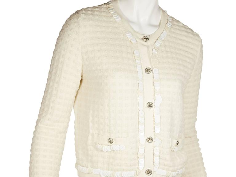 Ivory Chanel Embellished Cashmere & Wool Cardigan In Excellent Condition For Sale In New York, NY