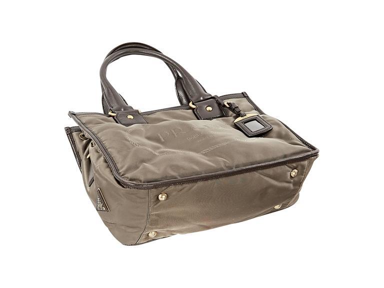 Brown Taupe Prada Logo Fabric Tote Bag