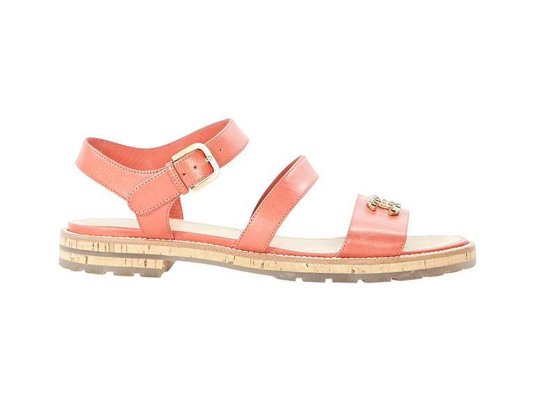 Coral Chanel Leather Flat Sandals 3