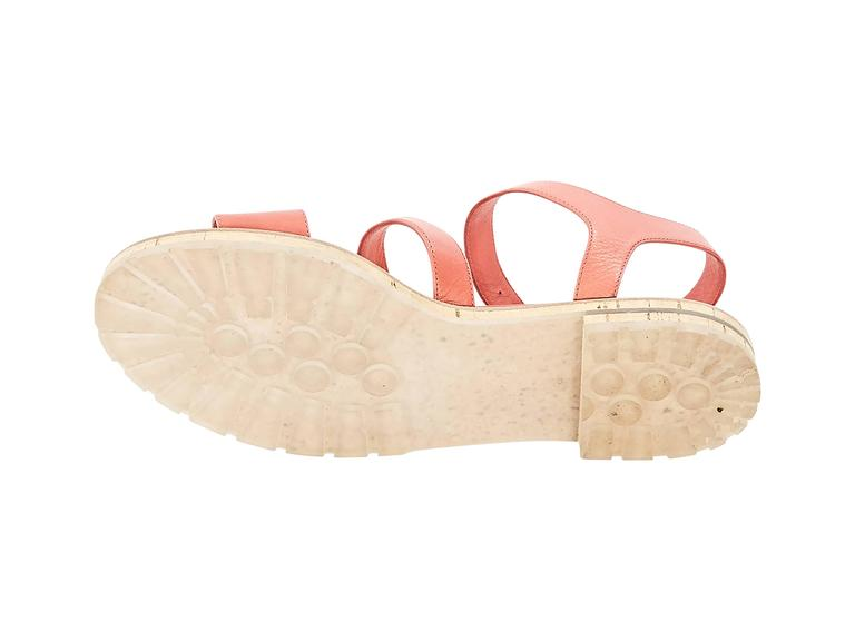 Coral Chanel Leather Flat Sandals 4