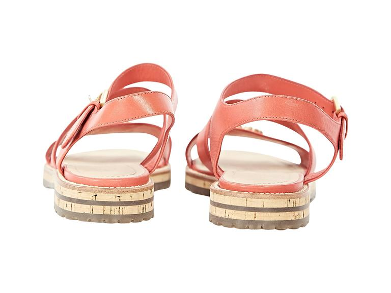 Coral Chanel Leather Flat Sandals 2