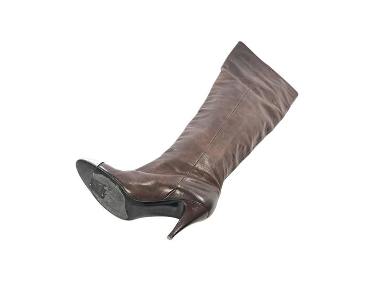 Brown Chanel Leather Heeled Boots 3
