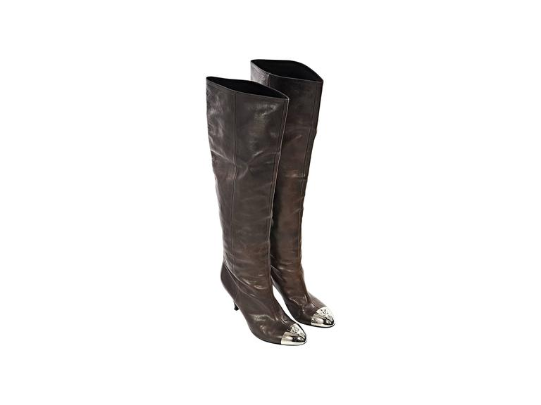 Brown Chanel Leather Heeled Boots 2