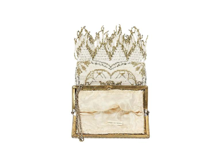 Ivory Whiting & Davis Vintage Beaded Clutch 3
