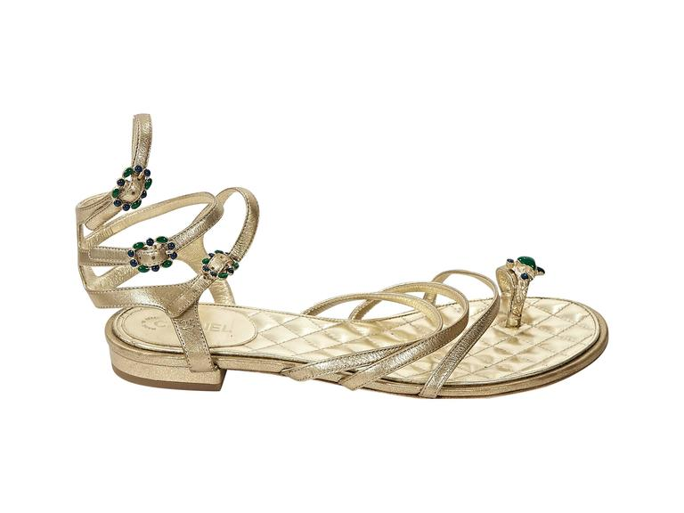 Gold Chanel Embellished Leather Flat Sandals 4