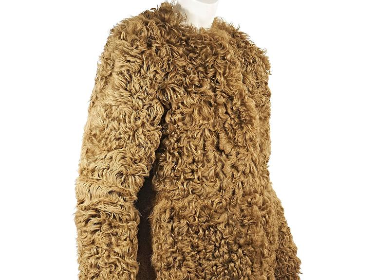 Camel Burberry Prorsum Shearling Coat In Excellent Condition For Sale In New York, NY