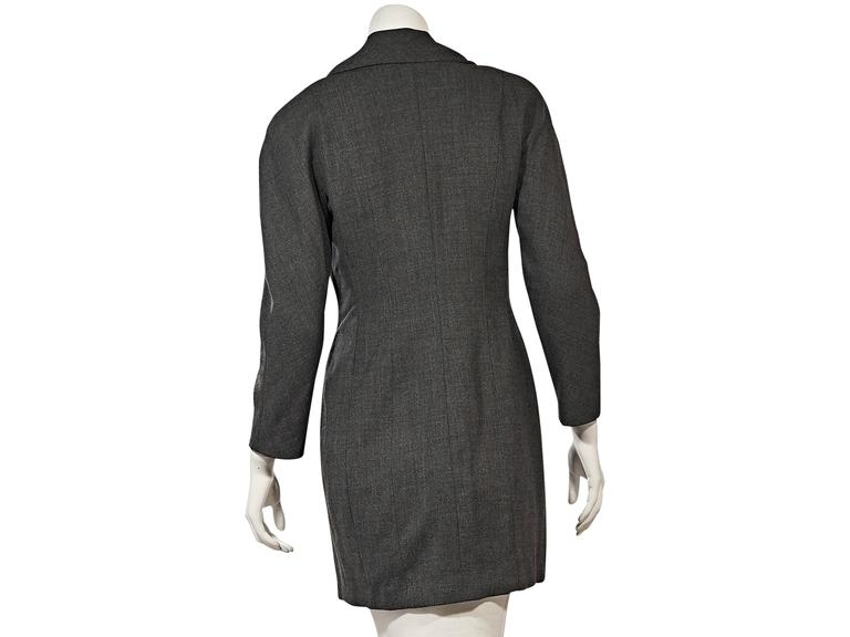 Black Grey Vintage Chanel Asymmetrical-Front Jacket For Sale