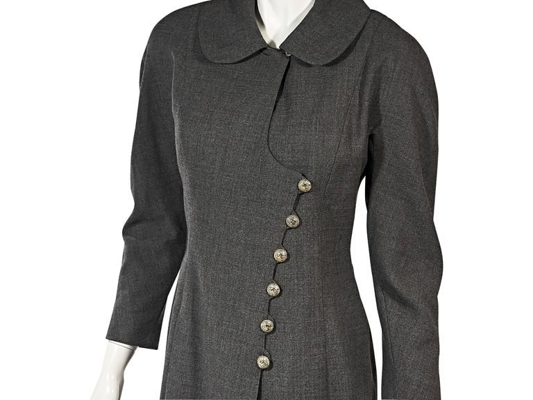 Grey Vintage Chanel Asymmetrical-Front Jacket In Good Condition For Sale In New York, NY