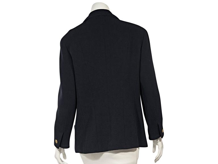 Black Navy Vintage Chanel Single Button Blazer For Sale