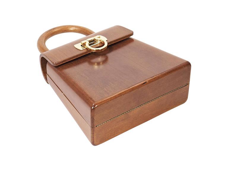 Brown Limited Edition Salvatore Ferragamo Wood Bag