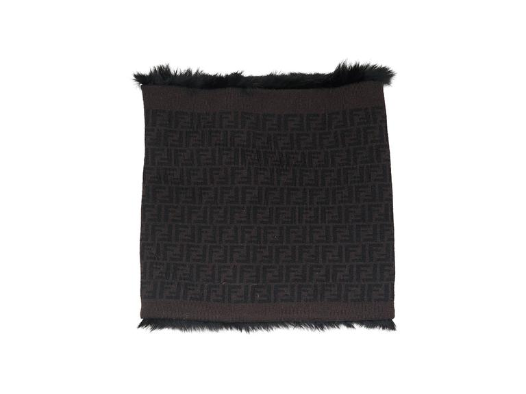 Product details: Black infinity scarf by Fendi. Detailed with Zucca logo. Fur lining. 