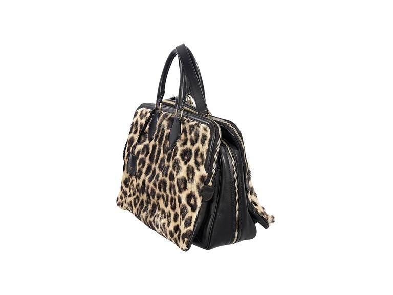 Celine Leopard-Print Fur & Leather Satchel 3