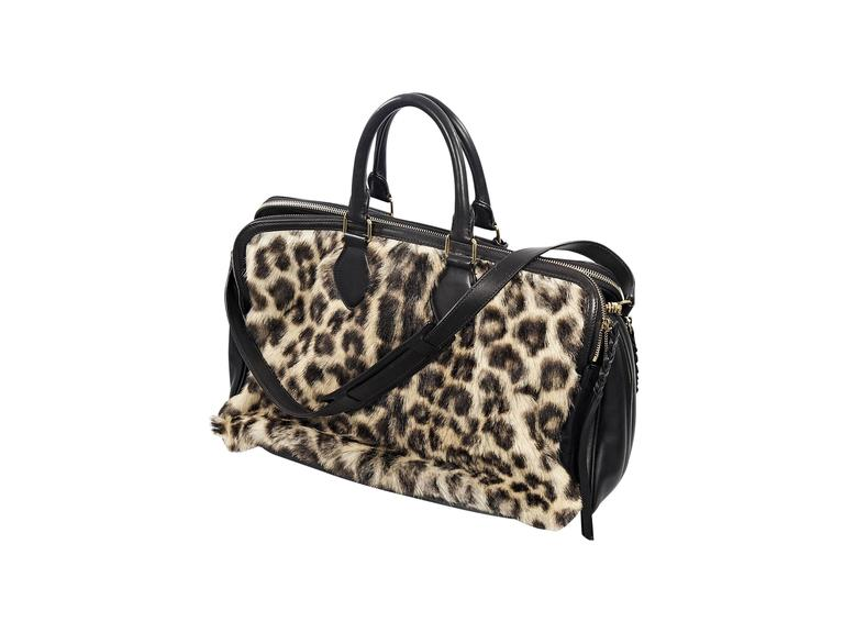 Celine Leopard-Print Fur & Leather Satchel 2