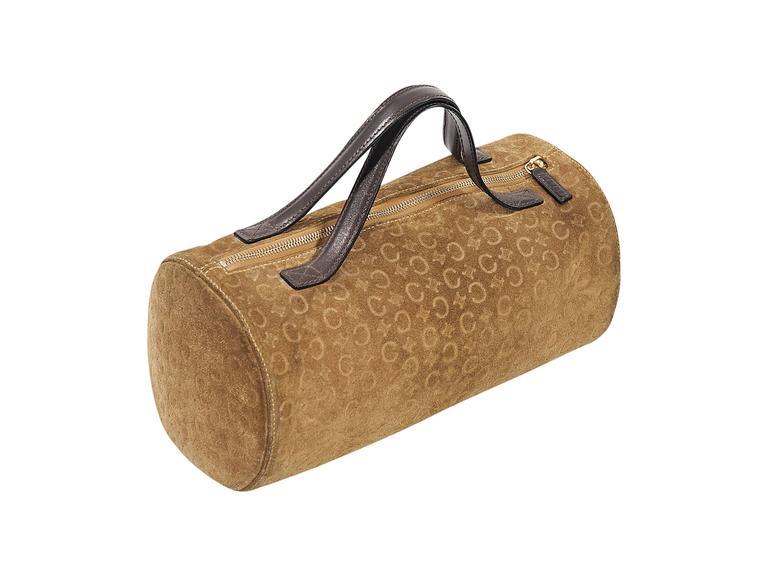 Brown Tan Celine Suede Embossed Bag For Sale