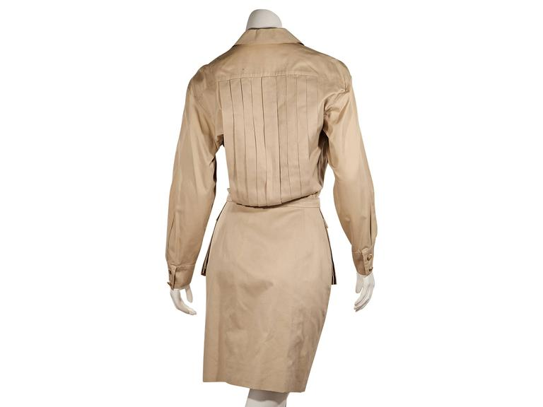 Beige Tan Vintage Chanel Pleated Dress For Sale