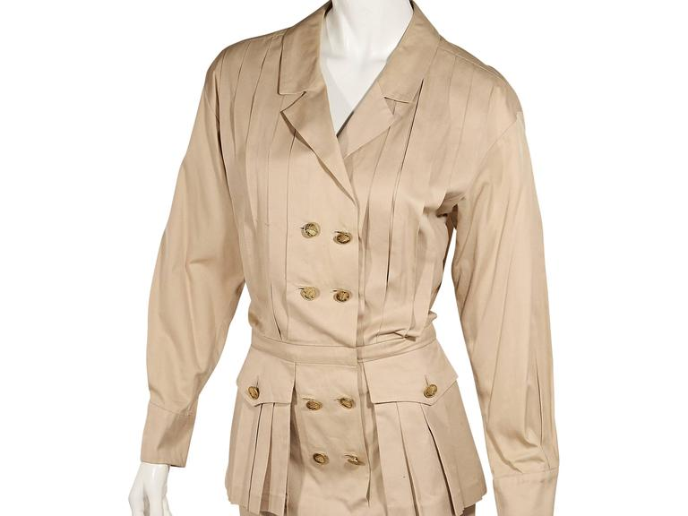 Tan Vintage Chanel Pleated Dress In Good Condition For Sale In New York, NY