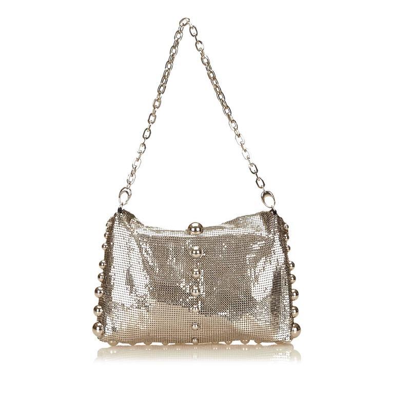 Beige  Jimmy Choo Metallic Shoulder Bag For Sale