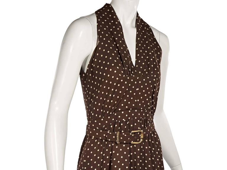 Brown Vintage Chanel Polka Dot Dress In Excellent Condition For Sale In New York, NY