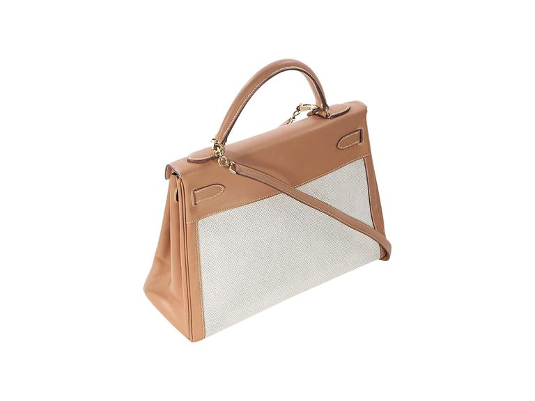 Tan Hermès Leather & Canvas Kelly Bag 2