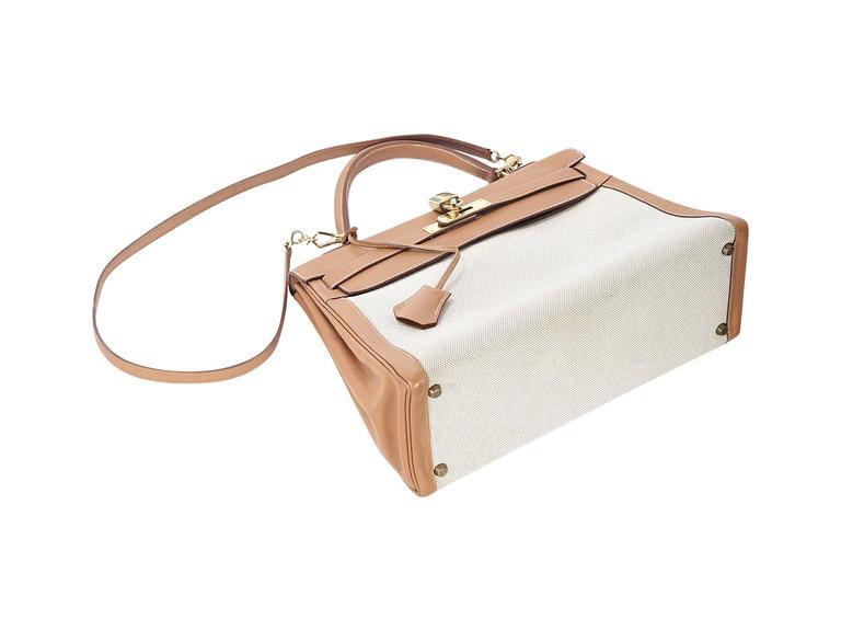Tan Hermès Leather & Canvas Kelly Bag 3
