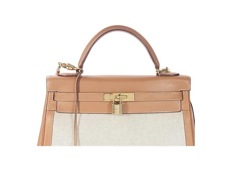 Tan Hermès Leather & Canvas Kelly Bag 4