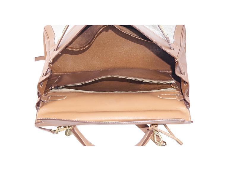 Tan Hermès Leather & Canvas Kelly Bag 5