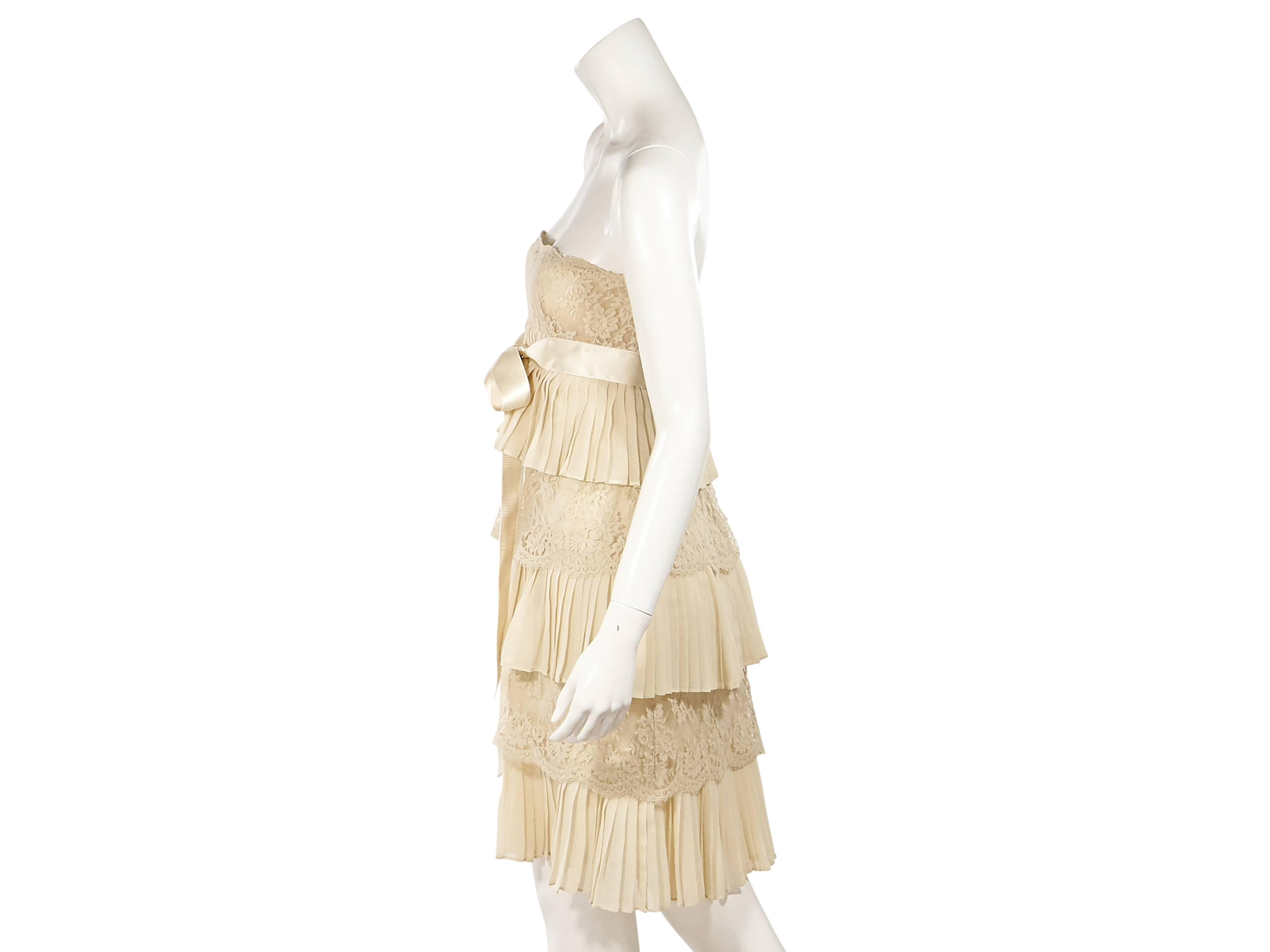 220759e20cf Tan Valentino Lace and Pleated Silk Dress For Sale at 1stdibs