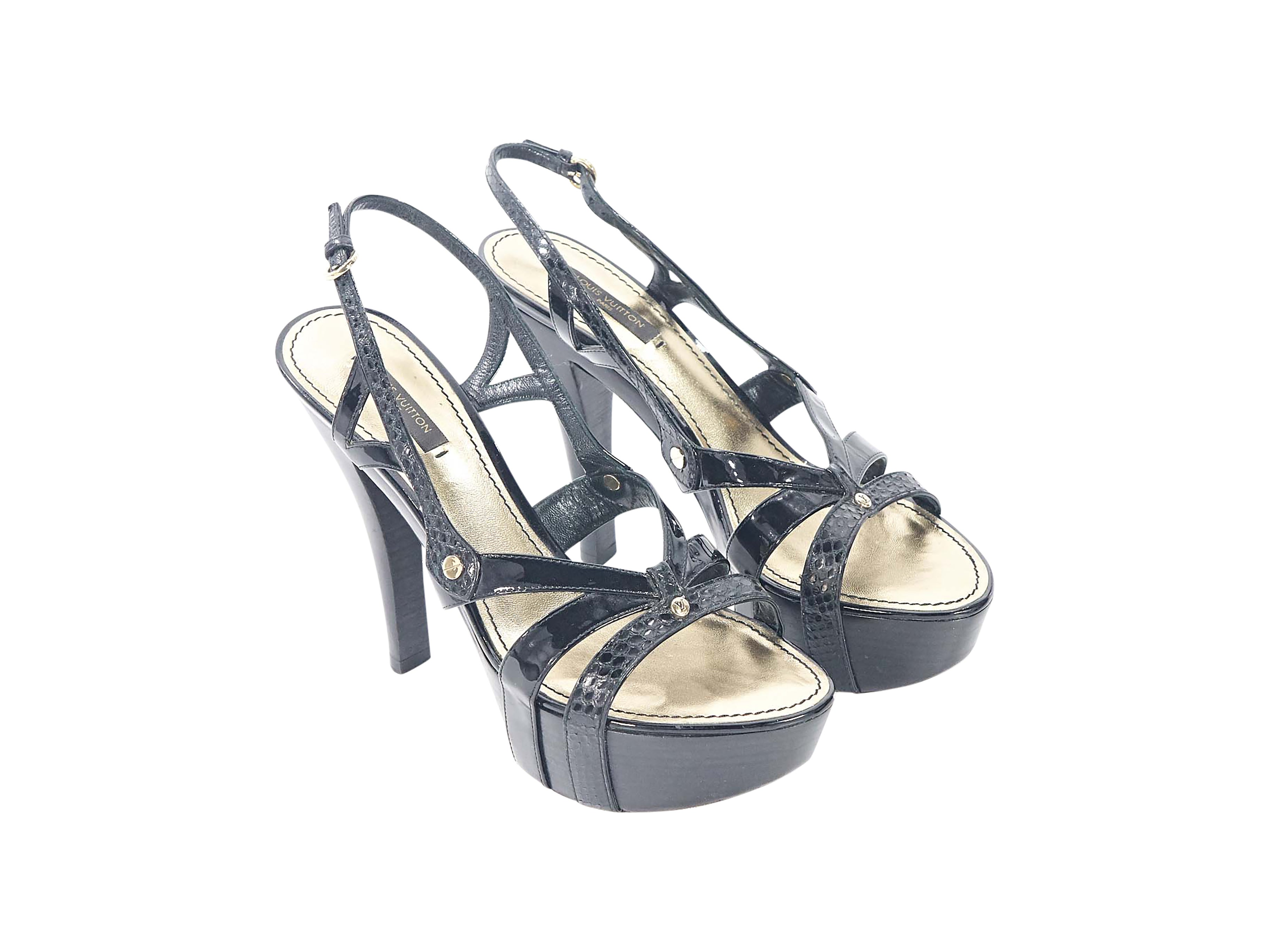 135733aac1ec Black Louis Vuitton Leather Platform Sandals For Sale at 1stdibs