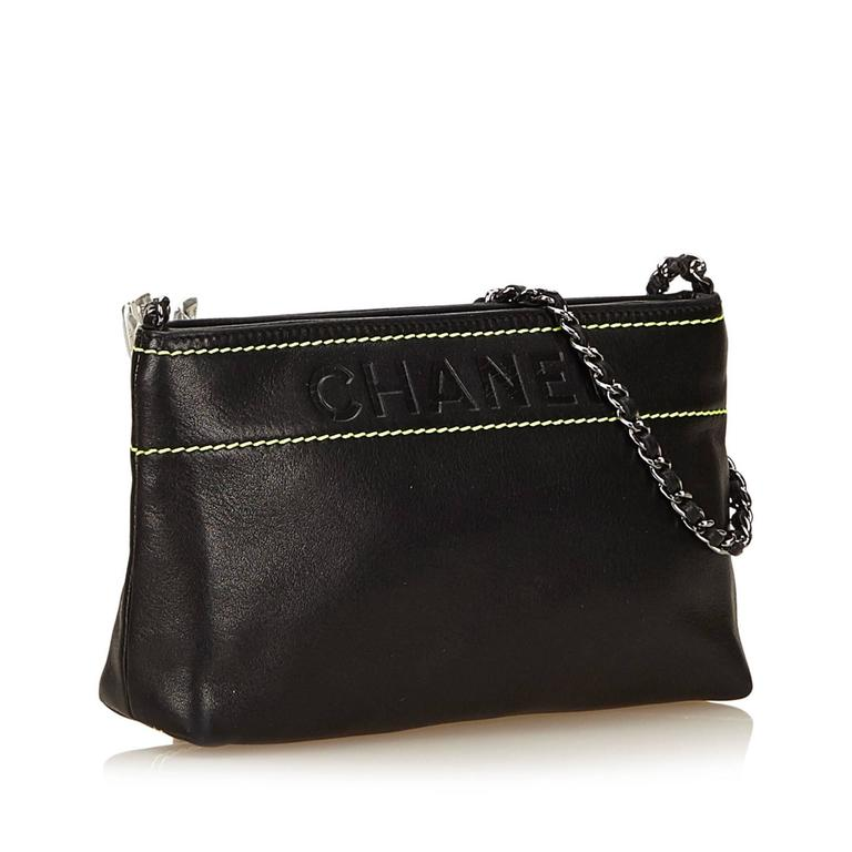 Black Chanel Leather Shoulder Bag 2