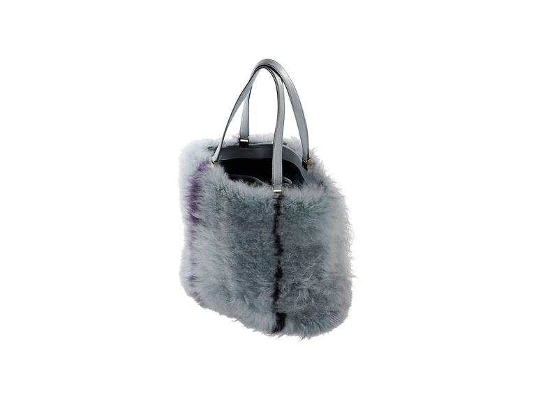 9aaffe3920e Product details: Blue Mongolian fur medium shopping tote bag by Tod's. Dual  shoulder straps