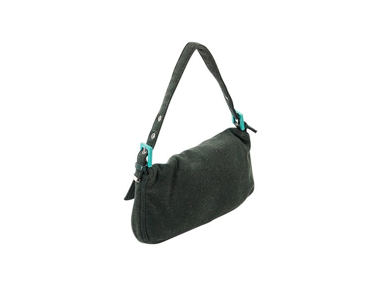 Black Green Fendi Cotton Baguette Bag