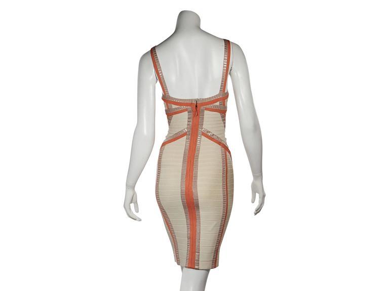 Tan & Orange Herve Leger Bandage Dress 3