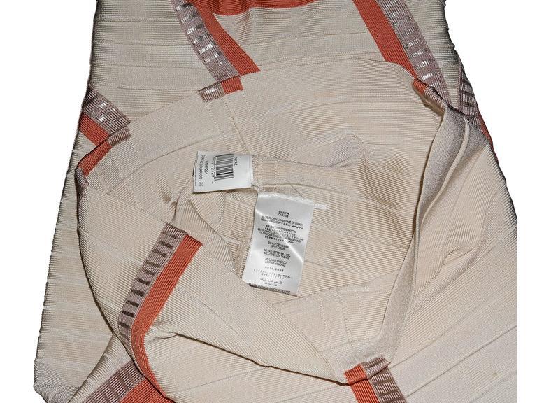 Tan & Orange Herve Leger Bandage Dress 4