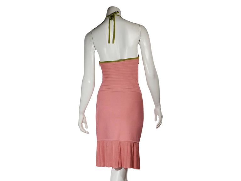 Pink & Green Herve Leger Halterneck Dress In Good Condition For Sale In New York, NY