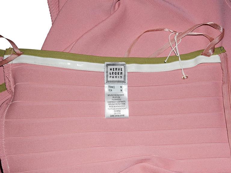 Pink & Green Herve Leger Halterneck Dress 4