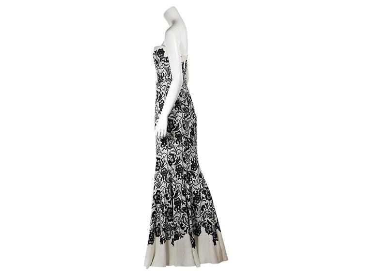 White & Black Dolce & Gabbana Floral Lace Gown 2